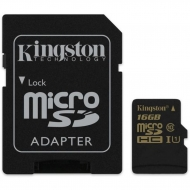 Карта памяти Kingston 16Gb microSDHC Class 10 UHS-I + SD adapter (SDCA10/16GB)