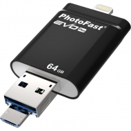 USB флеш накопитель PhotoFast 64GB i-Flashdrive EVO Plus Black USB3.0-microUSB/Lightning (EVOPLUS64GBU3)