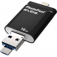 USB флеш накопитель PhotoFast 16GB i-FlashDrive EVO Plus Black USB- 3.0microUSB/Lightning (EVOPLUS16GB)