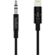 Кабель мультимедийный 3.5 mm Audio Cable to Lightning MFI, 0.9m, Black Belkin (AV10172BT03-BLK)